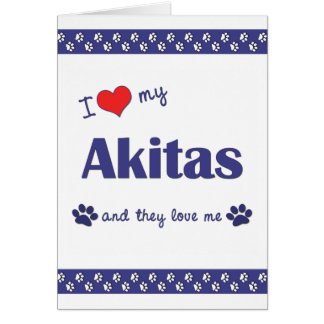 I Love My Akitas (Multiple Dogs) Stationery Note Card