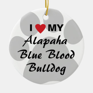 I Love My Alapaha Blue Blood Bulldog Double-Sided Ceramic Round Christmas Ornament