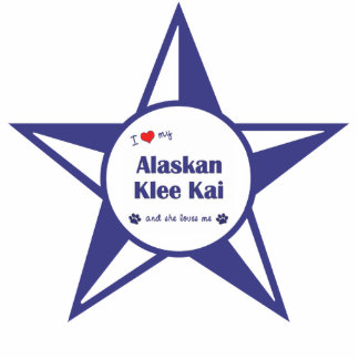 I Love My Alaskan Klee Kai (Female Dog) Photo Sculpture Ornament
