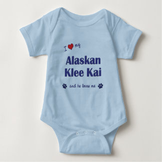 I Love My Alaskan Klee Kai (Male Dog) Baby Bodysuit