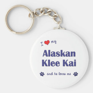 I Love My Alaskan Klee Kai (Male Dog) Basic Round Button Keychain