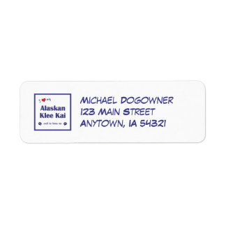 I Love My Alaskan Klee Kai (Male Dog) Return Address Label