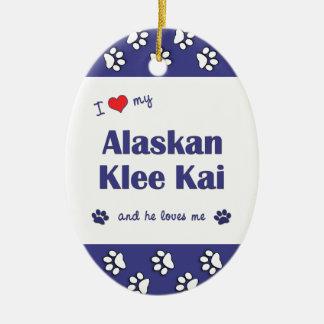 I Love My Alaskan Klee Kai (Male Dog) Double-Sided Oval Ceramic Christmas Ornament