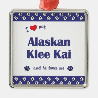 I Love My Alaskan Klee Kai (Male Dog) Square Metal Christmas Ornament