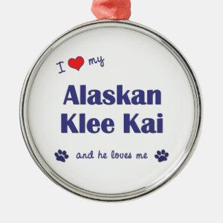 I Love My Alaskan Klee Kai (Male Dog) Round Metal Christmas Ornament