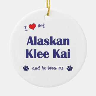 I Love My Alaskan Klee Kai (Male Dog) Double-Sided Ceramic Round Christmas Ornament