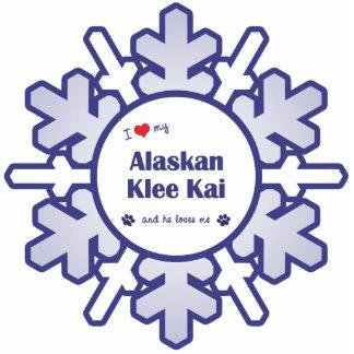 I Love My Alaskan Klee Kai (Male Dog) Photo Sculpture Ornament