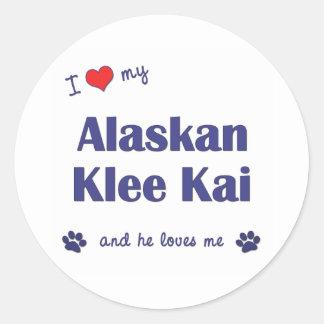 I Love My Alaskan Klee Kai (Male Dog) Classic Round Sticker