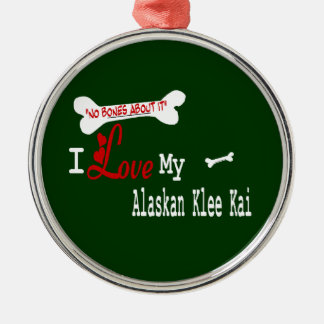 I Love My Alaskan Klee Kai Metal Ornament
