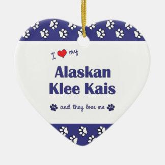 I Love My Alaskan Klee Kais (Multiple Dogs) Double-Sided Heart Ceramic Christmas Ornament
