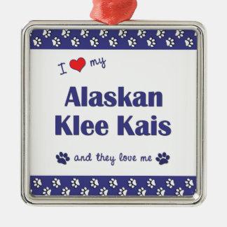 I Love My Alaskan Klee Kais (Multiple Dogs) Square Metal Christmas Ornament