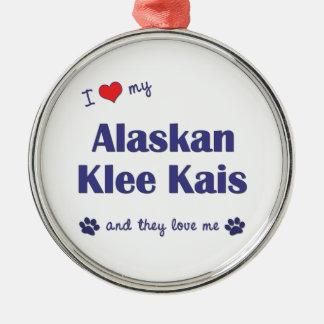 I Love My Alaskan Klee Kais (Multiple Dogs) Round Metal Christmas Ornament