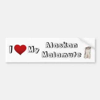 i love my alaskan malamute (2) car bumper sticker
