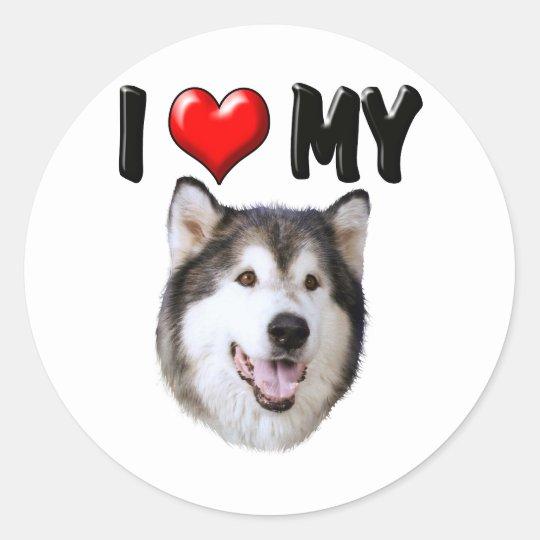 I Love My Alaskan Malamute Classic Round Sticker