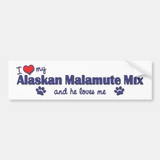 I Love My Alaskan Malamute Mix (Male Dog) Car Bumper Sticker