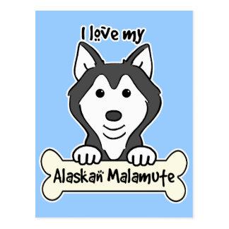 I Love My Alaskan Malamute Postcard