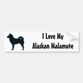 I Love My Alaskan Malamute Silhouette Car Bumper Sticker