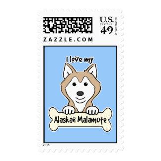 I Love My Alaskan Malamute Stamp