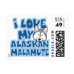 I Love My Alaskan Malamute Stamps