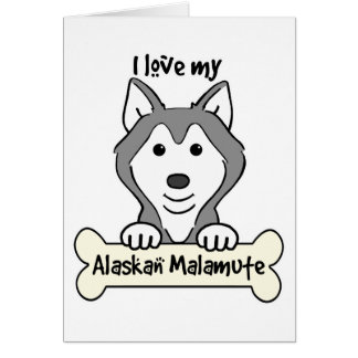 I Love My Alaskan Malamute Stationery Note Card