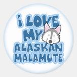 I Love My Alaskan Malamute Stickers