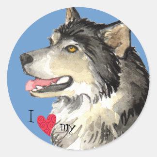 I Love my Alaskan Malemute Classic Round Sticker