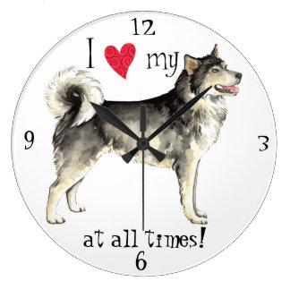 I Love my Alaskan Malemute Large Clock