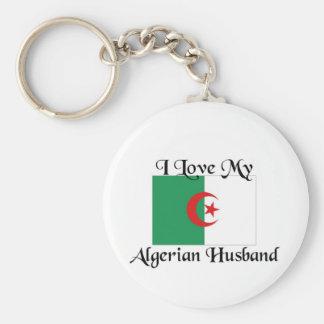 I love my algerian husband basic round button keychain