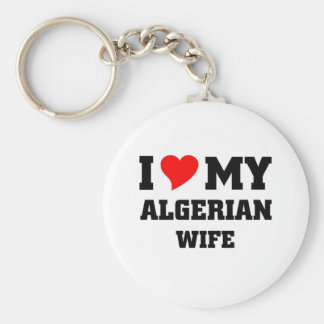 I love my algerian wife basic round button keychain