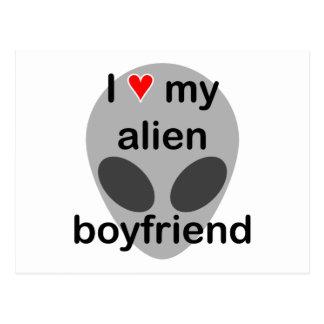 I love my alien boyfriend postcard