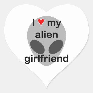I love my alien girlfriend heart sticker