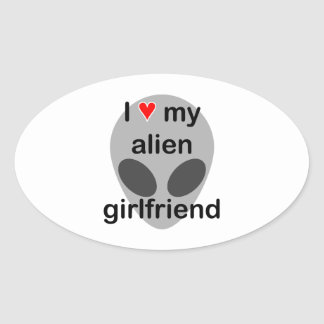 I love my alien girlfriend oval sticker