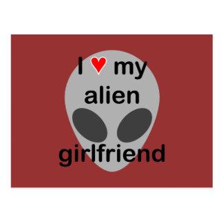 I love my alien girlfriend postcard