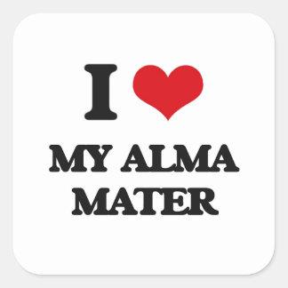 I Love My Alma Mater Square Sticker