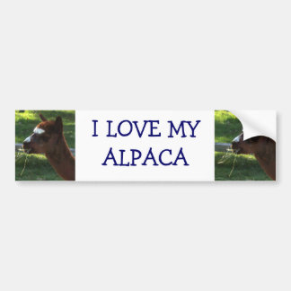 I Love My Alpaca Car Bumper Sticker