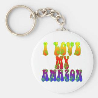 I Love My Amazon Basic Round Button Keychain