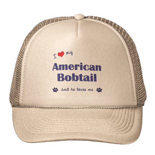I Love My American Bobtail (Male Cat) Hats