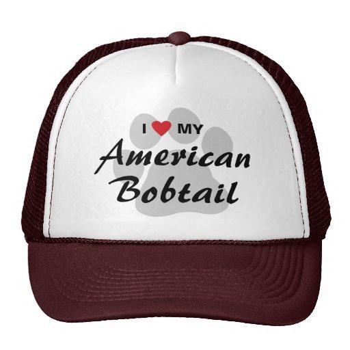 I Love My American Bobtail Pawprint Mesh Hats