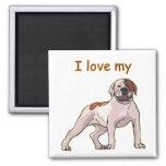 I Love My American Bulldog Fridge Magnets