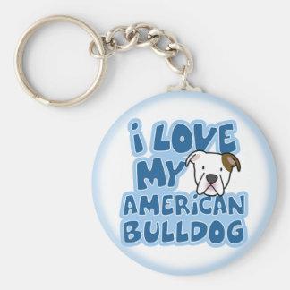 I Love My American Bulldog Keychain