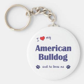 I Love My American Bulldog (Male Dog) Keychain