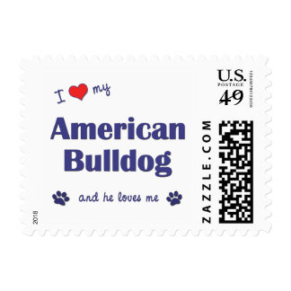 I Love My American Bulldog (Male Dog) Postage