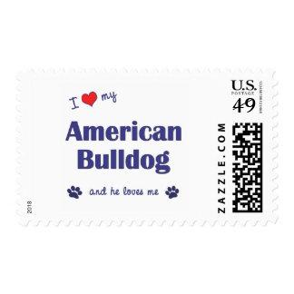 I Love My American Bulldog (Male Dog) Postage