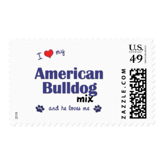 I Love My American Bulldog Mix (Male Dog) Stamps