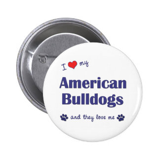I Love My American Bulldogs (Many Dogs) Buttons
