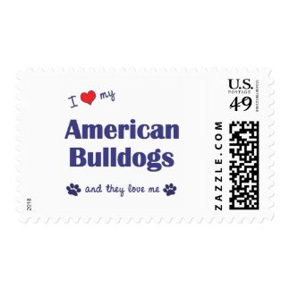 I Love My American Bulldogs (Many Dogs) Postage