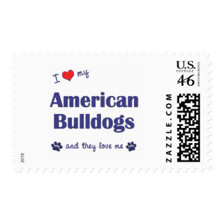 I Love My American Bulldogs (Many Dogs) Stamps
