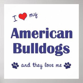 I Love My American Bulldogs (Multiple Dogs) Print