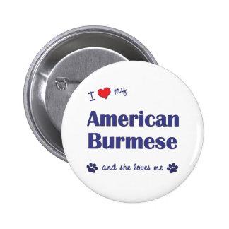 I Love My American Burmese (Female Cat) Pin