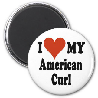 I Love My American Curl Cat Merchandise 2 Inch Round Magnet